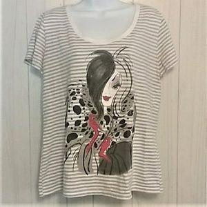 Disney Store Cruella de Vil T-shirt Top Stripes XL